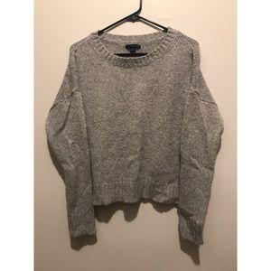 American Eagle L Grey Sparkle Knit Crop Sweater